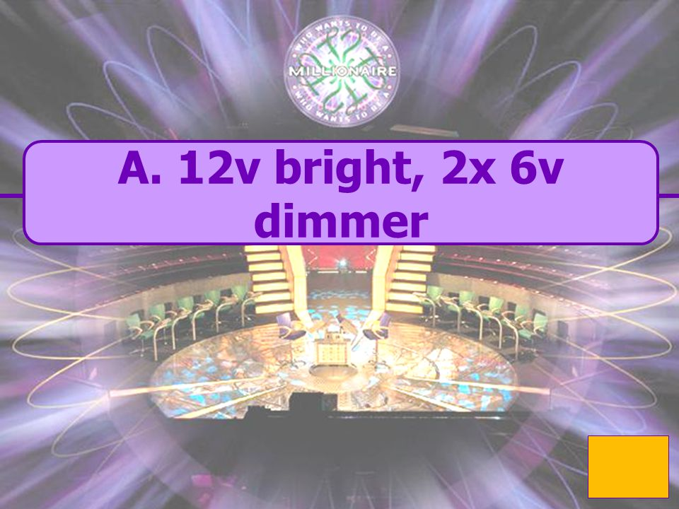  A. 12v bright A. 12v bright 2x 6v dimmer A 2 branch parallel circuit is built containing a 12v battery and 3 bulbs. What is the voltage and brightne