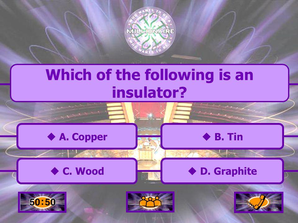  A.Copper A. Copper  C. Wood C. Wood  B. Tin B.
