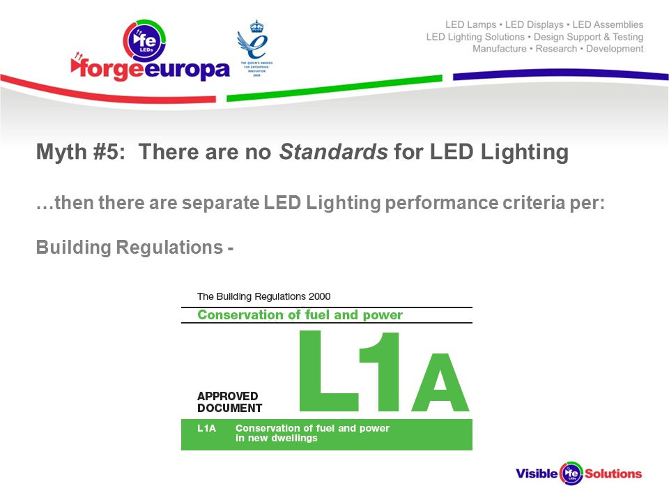 Myth #5: There are no Standards for LED Lighting …then there are separate LED Lighting performance criteria per: Building Regulations -