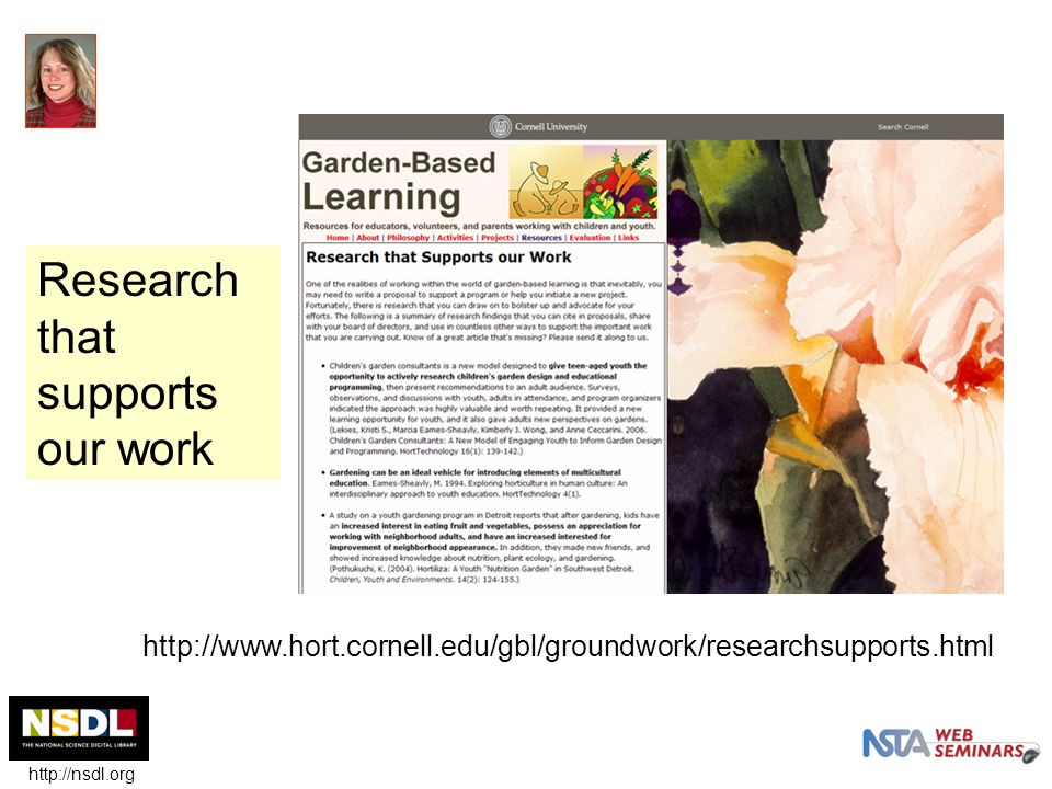 http://www.hort.cornell.edu/gbl/groundwork/researchsupports.html Research that supports our work http://nsdl.org