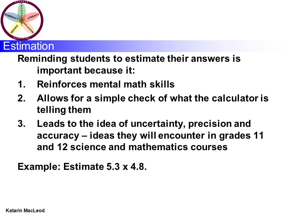 KATARIN MACLEOD Katarin MacLeod NUMERACY TECHNOLOGYTECHNOLOGY LITERACY SERVICE APPLICATION Estimation Reminding students to estimate their answers is