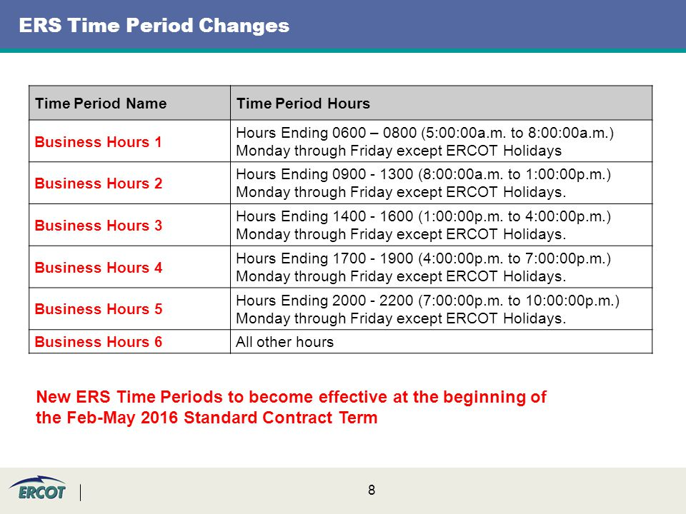 8 ERS Time Period Changes Time Period NameTime Period Hours Business Hours 1 Hours Ending 0600 – 0800 (5:00:00a.m.