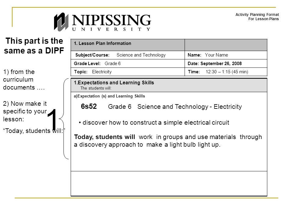 Activity Planning Format For Lesson Plans 1. Lesson Plan Information Subject/Course: Science and TechnologyName: Your Name Grade Level: Grade 6Date: S