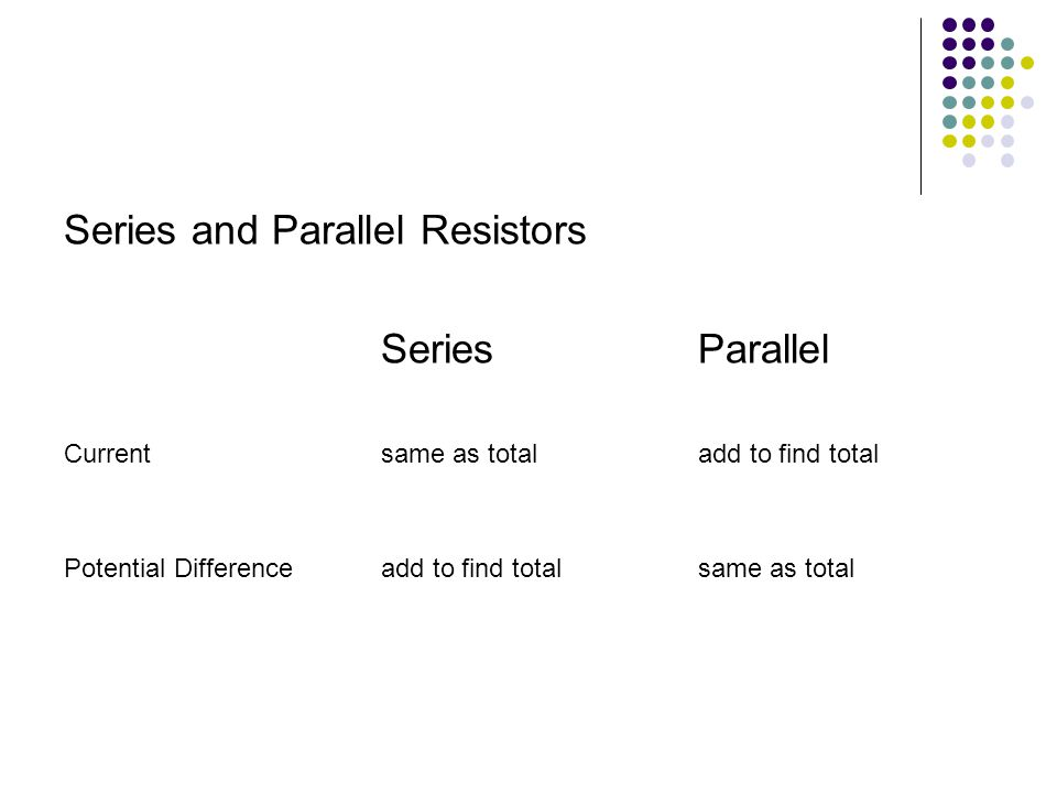 Series and Parallel Resistors SeriesParallel Currentsame as totaladd to find total Potential Differenceadd to find totalsame as total