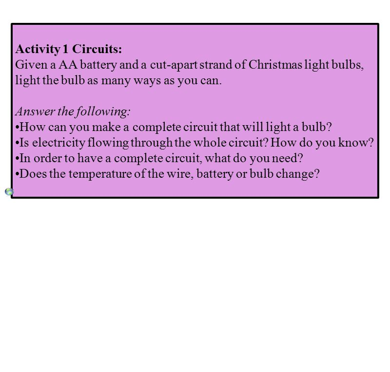 Activity 1 Circuits: Given a AA battery and a cut-apart strand of Christmas light bulbs, light the bulb as many ways as you can.