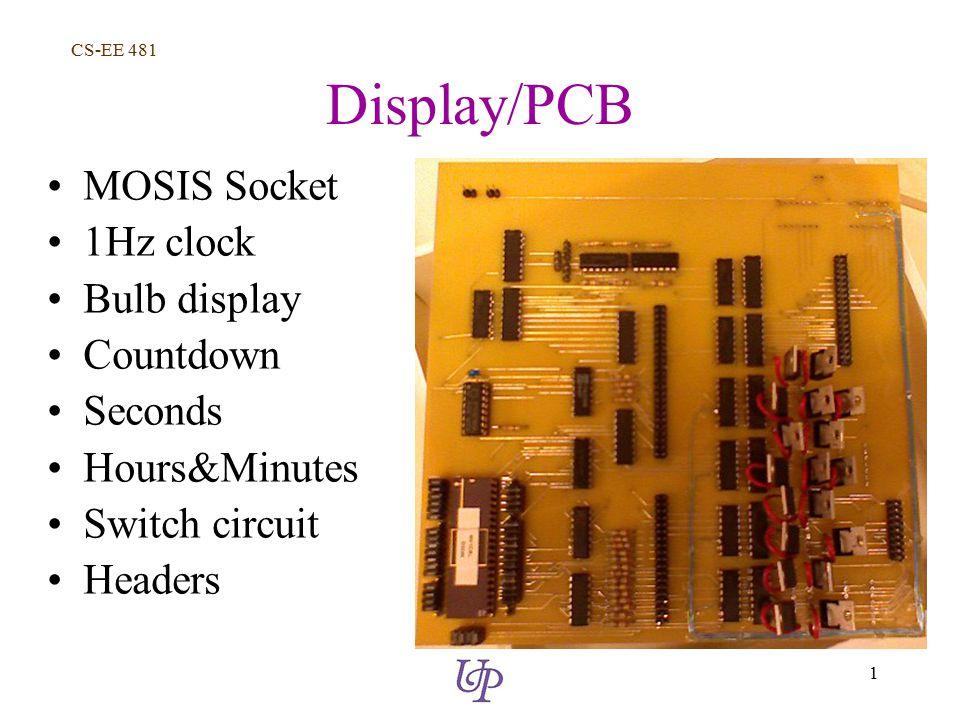CS-EE 481 1 Display/PCB MOSIS Socket 1Hz clock Bulb display Countdown Seconds Hours&Minutes Switch circuit Headers