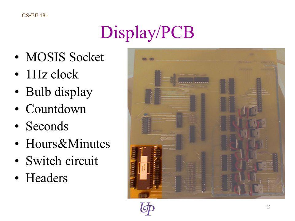 CS-EE 481 2 Display/PCB MOSIS Socket 1Hz clock Bulb display Countdown Seconds Hours&Minutes Switch circuit Headers