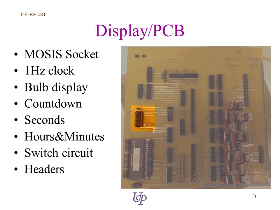 CS-EE 481 3 Display/PCB MOSIS Socket 1Hz clock Bulb display Countdown Seconds Hours&Minutes Switch circuit Headers
