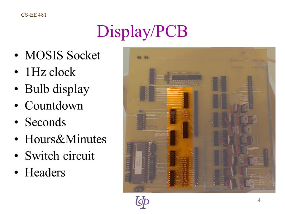 CS-EE 481 4 Display/PCB MOSIS Socket 1Hz clock Bulb display Countdown Seconds Hours&Minutes Switch circuit Headers