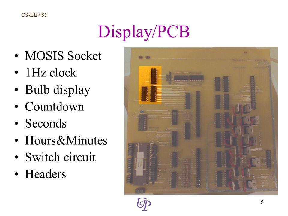 CS-EE 481 5 Display/PCB MOSIS Socket 1Hz clock Bulb display Countdown Seconds Hours&Minutes Switch circuit Headers