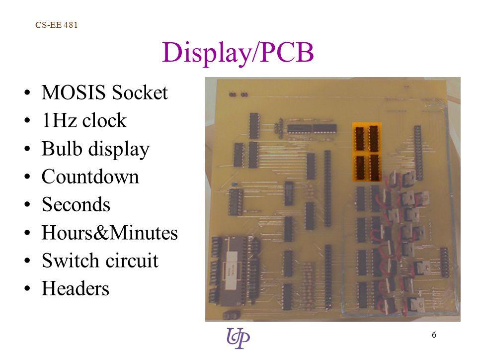 CS-EE 481 6 Display/PCB MOSIS Socket 1Hz clock Bulb display Countdown Seconds Hours&Minutes Switch circuit Headers