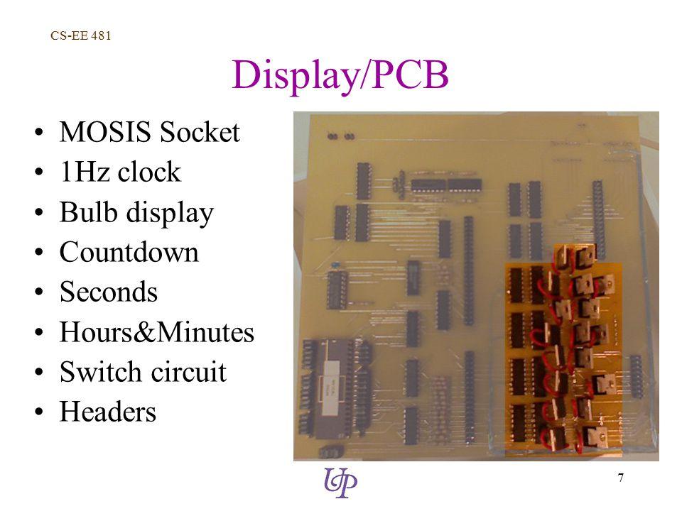 CS-EE 481 7 Display/PCB MOSIS Socket 1Hz clock Bulb display Countdown Seconds Hours&Minutes Switch circuit Headers