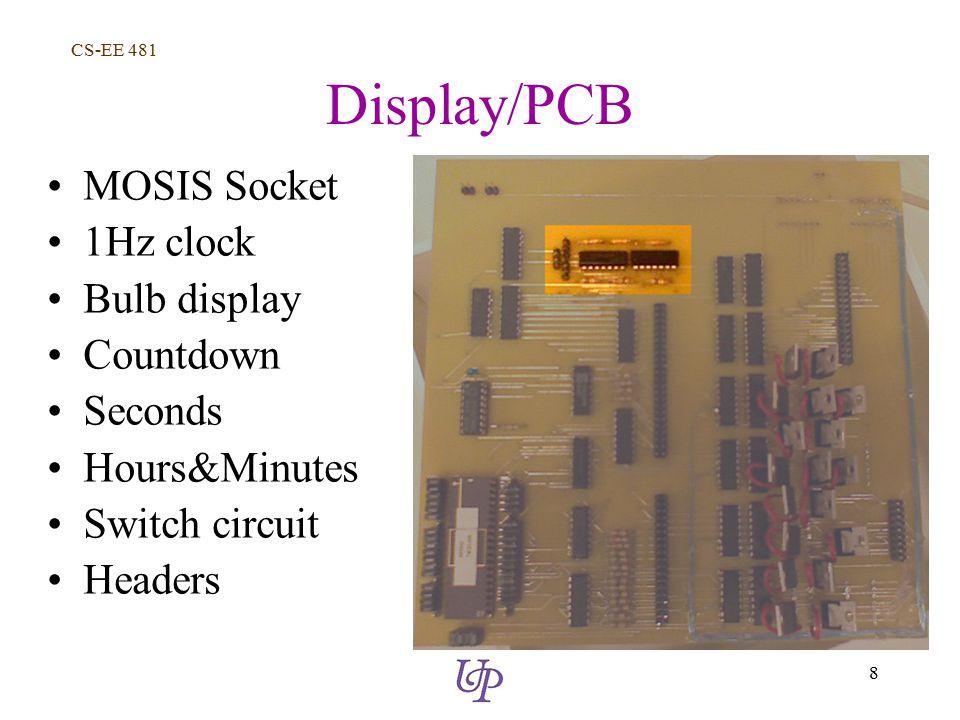 CS-EE 481 8 Display/PCB MOSIS Socket 1Hz clock Bulb display Countdown Seconds Hours&Minutes Switch circuit Headers