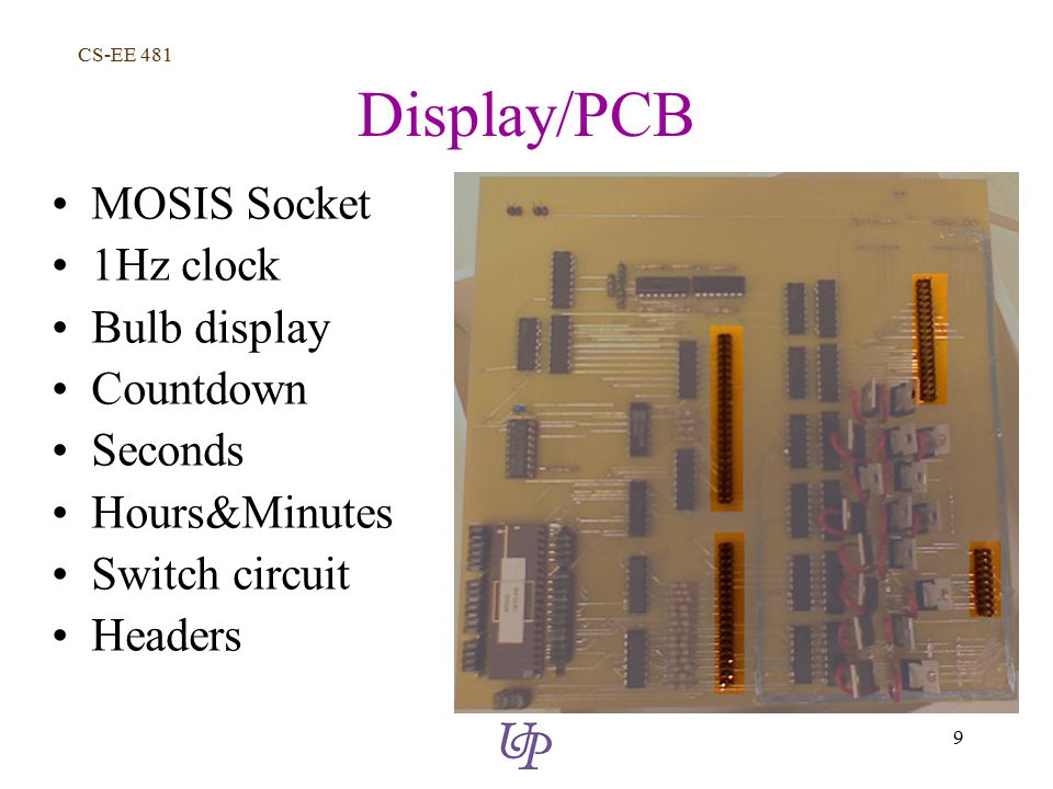 CS-EE 481 9 Display/PCB MOSIS Socket 1Hz clock Bulb display Countdown Seconds Hours&Minutes Switch circuit Headers