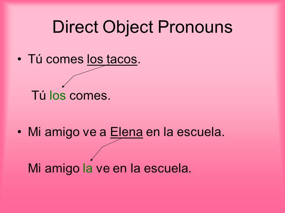 Direct Object Pronouns Tú comes los tacos. Tú los comes.