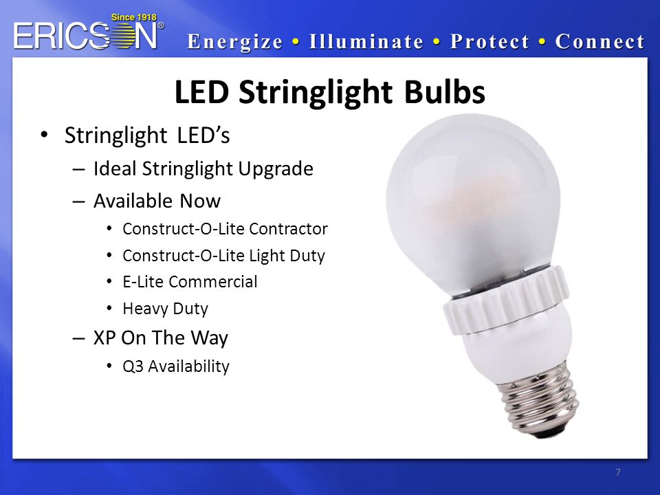 7 LED Stringlight Bulbs Stringlight LED's – Ideal Stringlight Upgrade – Available Now Construct-O-Lite Contractor Construct-O-Lite Light Duty E-Lite C