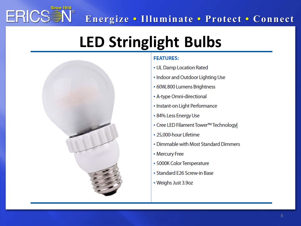 8 LED Stringlight Bulbs