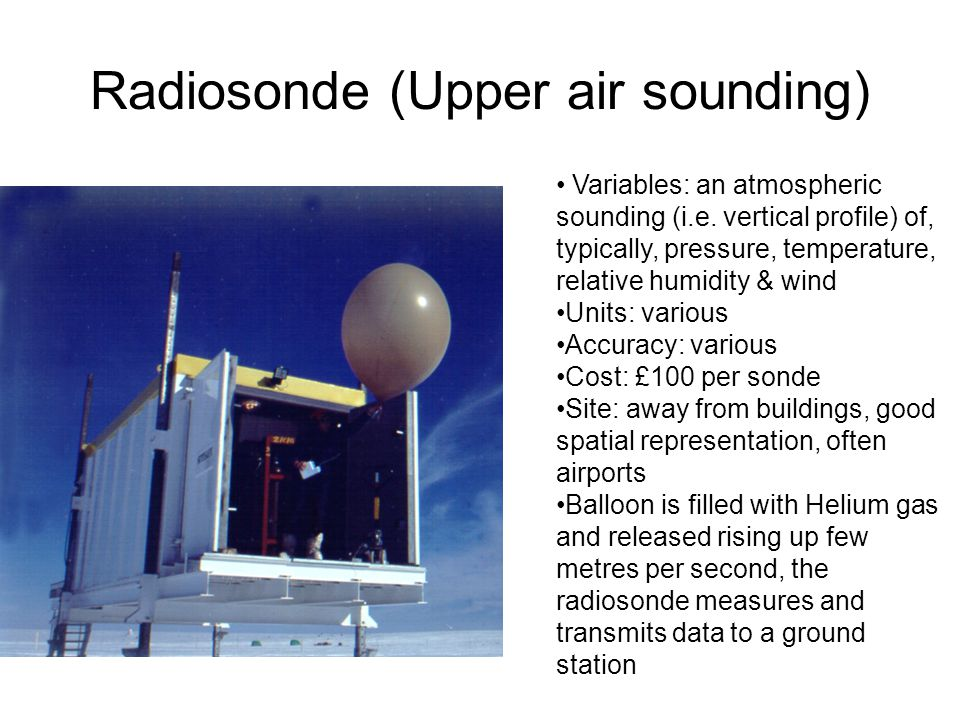 Radiosonde (Upper air sounding) Variables: an atmospheric sounding (i.e.