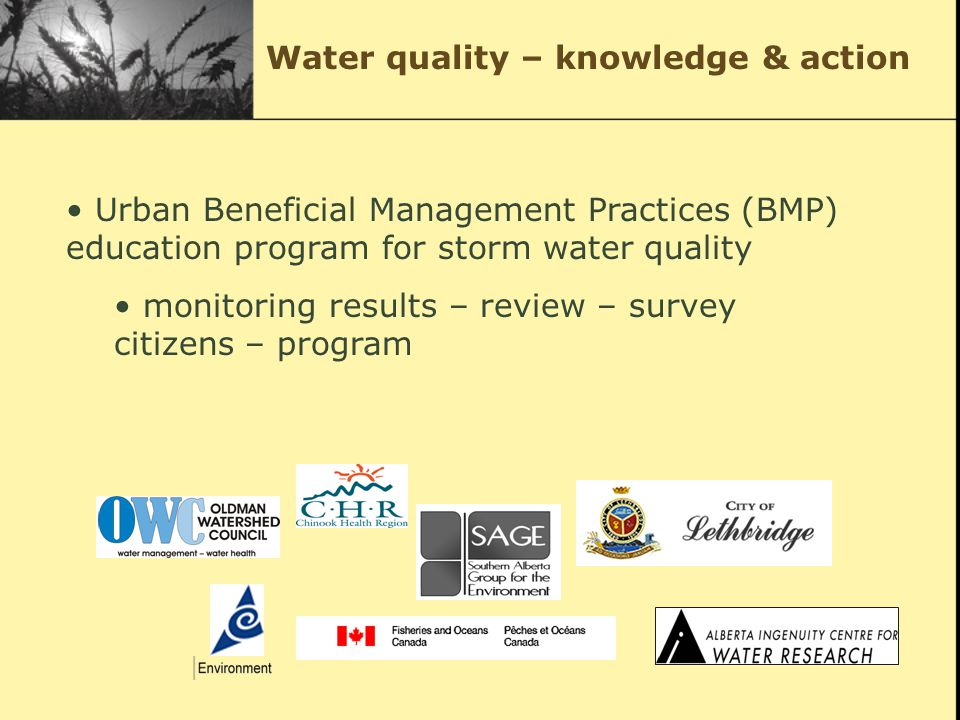 Urban Beneficial Management Practices (BMP) education program for storm water quality monitoring results – review – survey citizens – program Water quality – knowledge & action