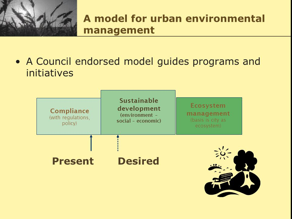 A model for urban environmental management A Council endorsed model guides programs and initiatives Compliance (with regulations, policy) Sustainable development (environment – social – economic) Ecosystem management (basis is city as ecosystem) Present Desired