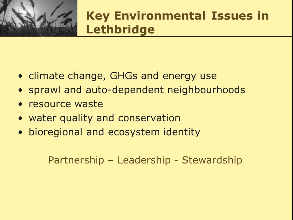 Key Environmental Issues in Lethbridge climate change, GHGs and energy use sprawl and auto-dependent neighbourhoods resource waste water quality and conservation bioregional and ecosystem identity Partnership – Leadership - Stewardship