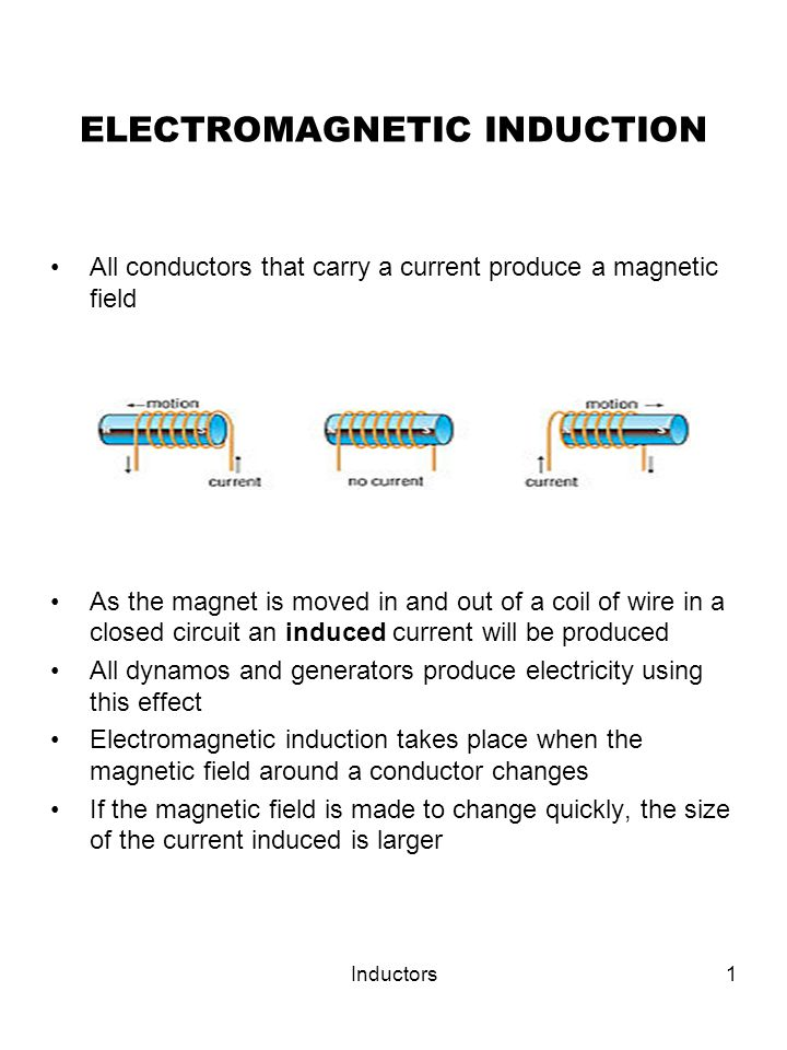Inductors1 ELECTROMAGNETIC INDUCTION All conductors that carry a current produce a magnetic field As the magnet is moved in and out of a coil of wire in a closed circuit an induced current will be produced All dynamos and generators produce electricity using this effect Electromagnetic induction takes place when the magnetic field around a conductor changes If the magnetic field is made to change quickly, the size of the current induced is larger