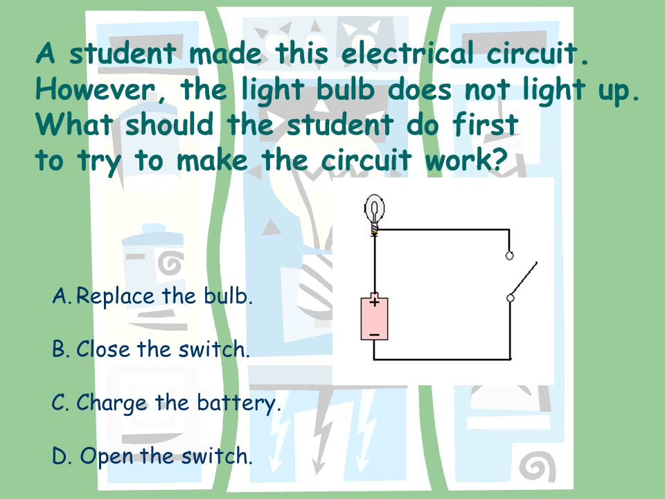 Incorrect Answer Choices: B.The wire is not connected to the thread of the bulbs.