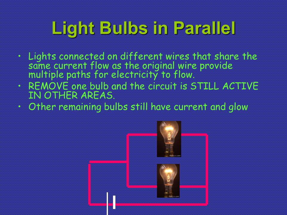 Light Bulbs in Parallel Lights connected on different wires that share the same current flow as the original wire provide multiple paths for electricity to flow.