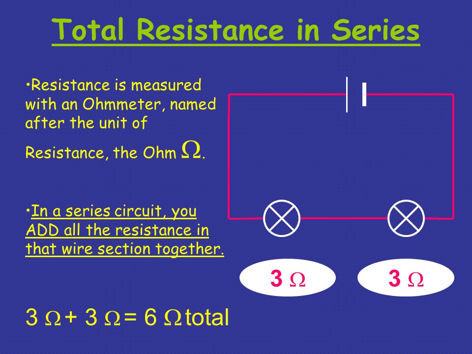 Total Resistance in Series Resistance is measured with an Ohmmeter, named after the unit of Resistance, the Ohm .