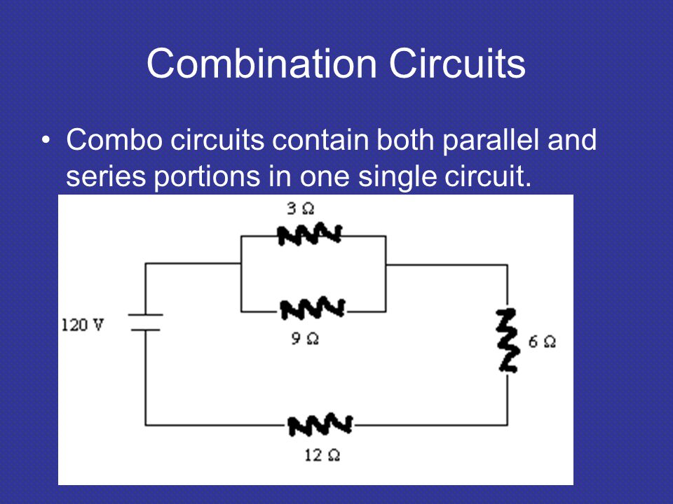 Combination Circuits Combo circuits contain both parallel and series portions in one single circuit.