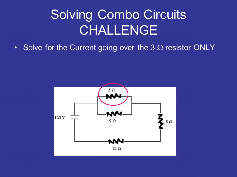 Solving Combo Circuits CHALLENGE Solve for the Current going over the 3  resistor ONLY