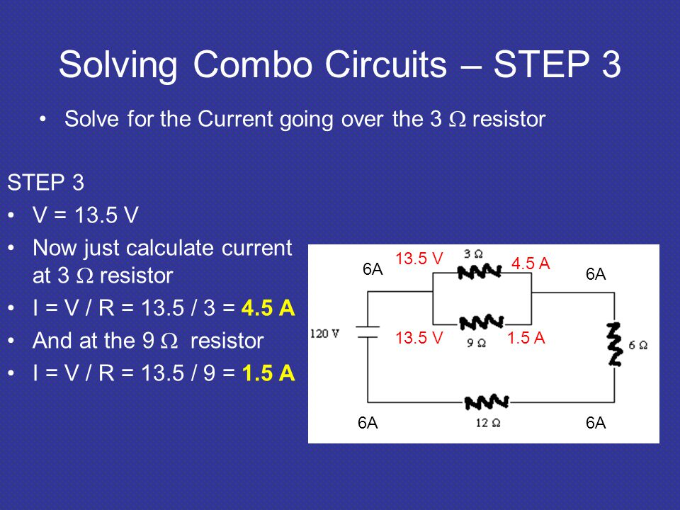 Solving Combo Circuits – STEP 3 Solve for the Current going over the 3  resistor STEP 3 V = 13.5 V Now just calculate current at 3  resistor I = V / R = 13.5 / 3 = 4.5 A And at the 9  resistor I = V / R = 13.5 / 9 = 1.5 A 6A 13.5 V 4.5 A 1.5 A