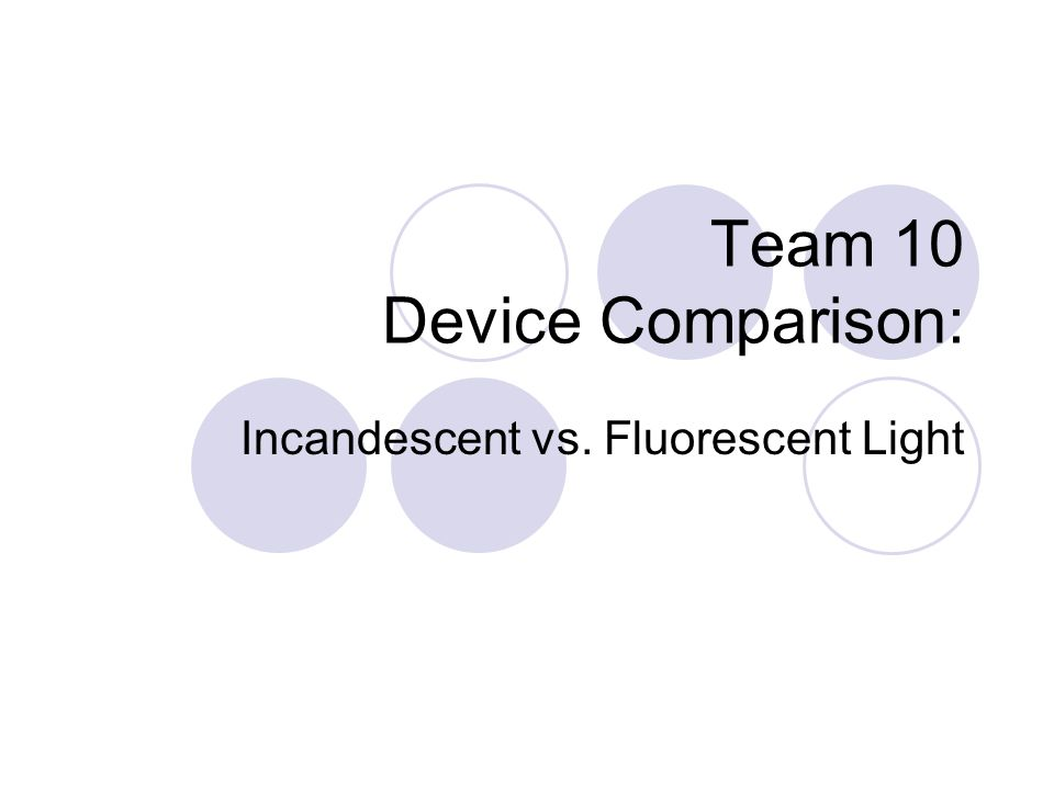 Team 10 Device Comparison: Incandescent vs. Fluorescent Light