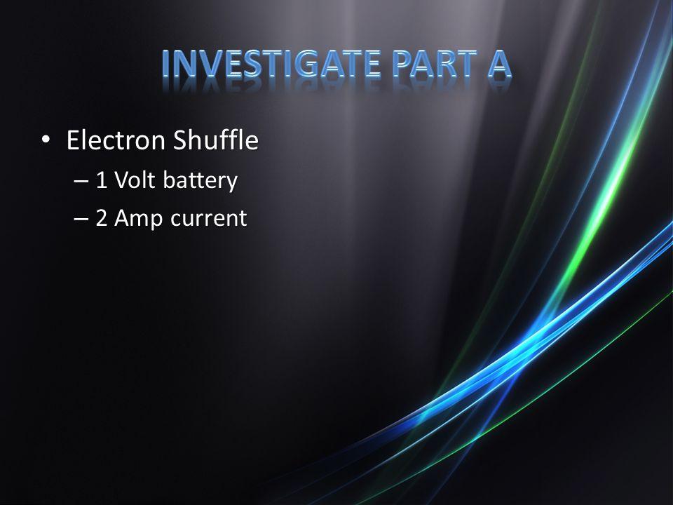 Electron Shuffle Electron Shuffle – 1 Volt battery – 2 Amp current