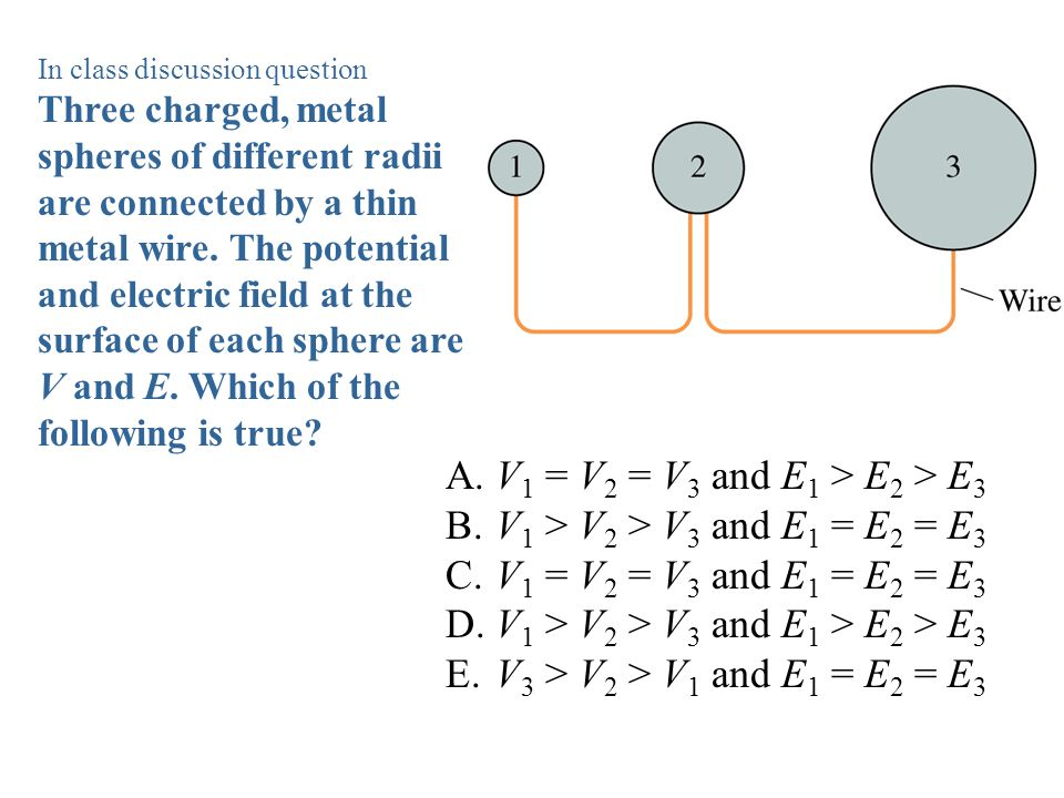 In class discussion question Three charged, metal spheres of different radii are connected by a thin metal wire. The potential and electric field at t