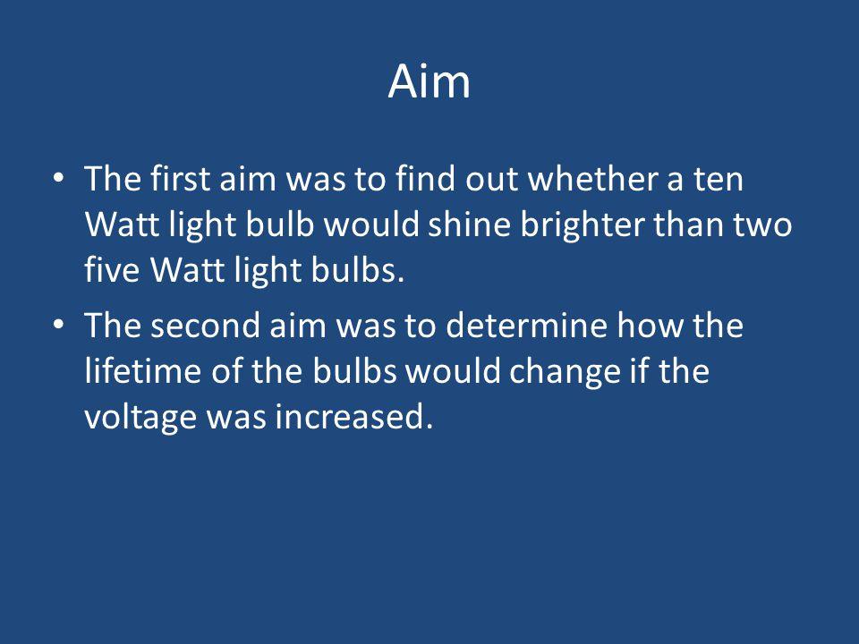 Aim The first aim was to find out whether a ten Watt light bulb would shine brighter than two five Watt light bulbs.