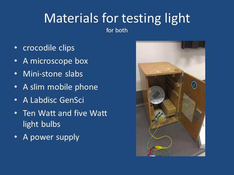 Materials for testing light for both crocodile clips A microscope box Mini-stone slabs A slim mobile phone A Labdisc GenSci Ten Watt and five Watt light bulbs A power supply