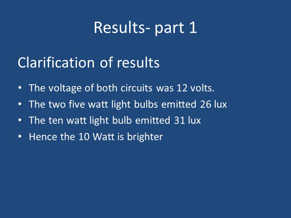 Results- part 1 Clarification of results The voltage of both circuits was 12 volts.