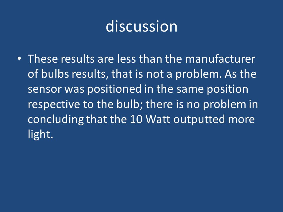 discussion These results are less than the manufacturer of bulbs results, that is not a problem.