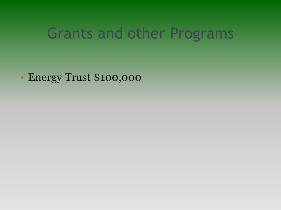 Grants and other Programs Energy Trust $100,000