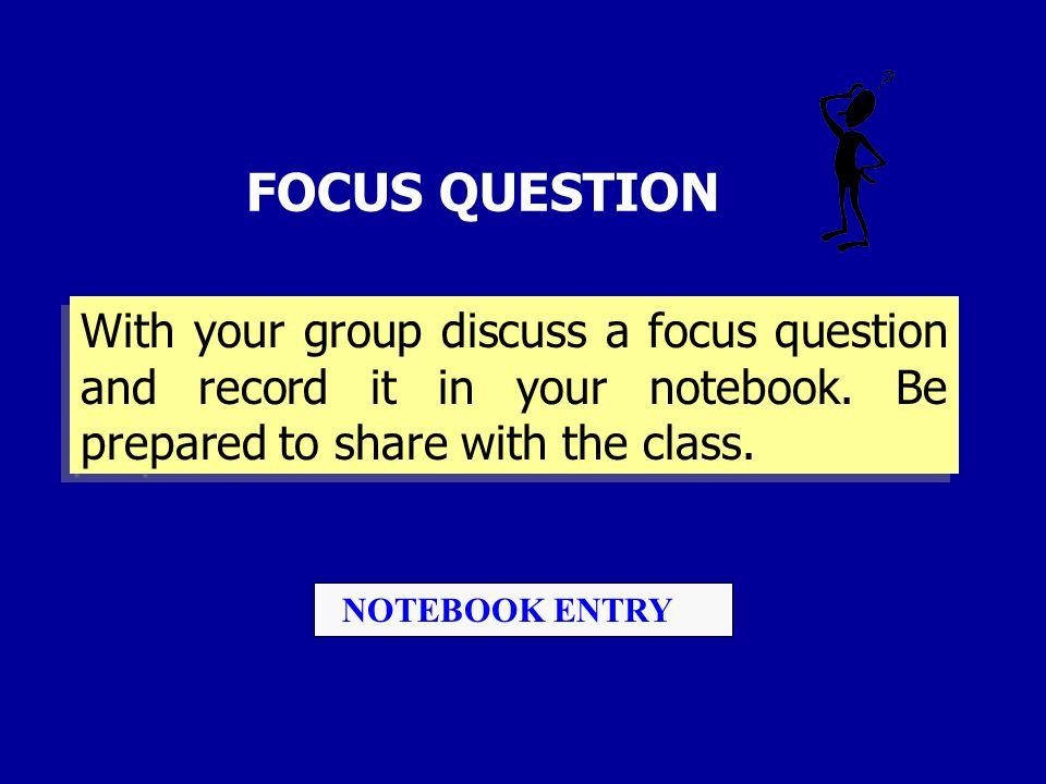 FOCUS QUESTION With your group discuss a focus question and record it in your notebook. Be prepared to share with the class. NOTEBOOK ENTRY