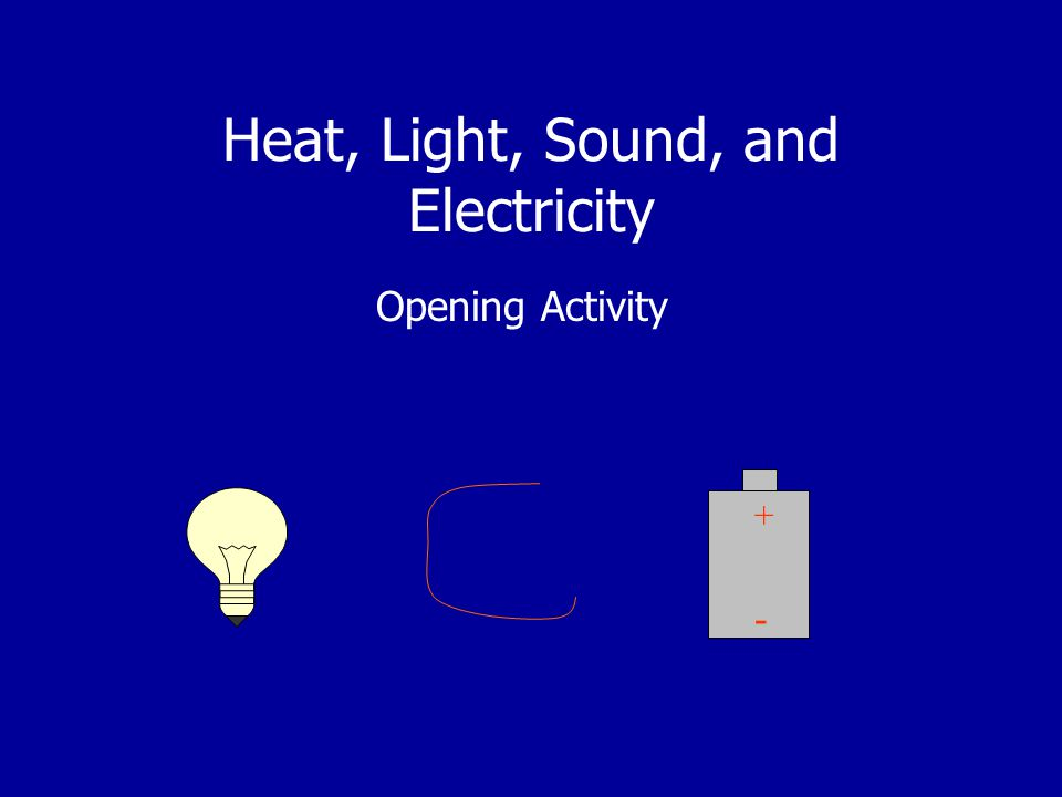 Heat, Light, Sound, and Electricity Opening Activity + -