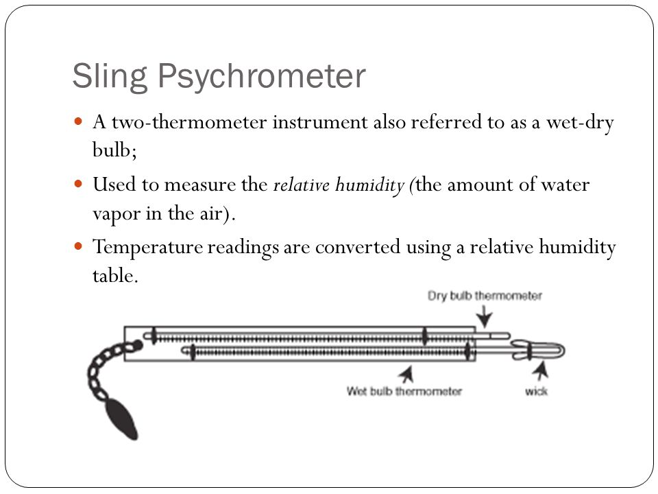 Sling Psychrometer A two-thermometer instrument also referred to as a wet-dry bulb; Used to measure the relative humidity (the amount of water vapor in the air).
