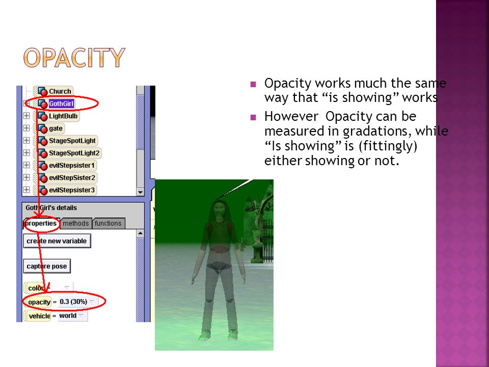"Opacity works much the same way that ""is showing"" works However Opacity can be measured in gradations, while ""Is showing"" is (fittingly) either showin"