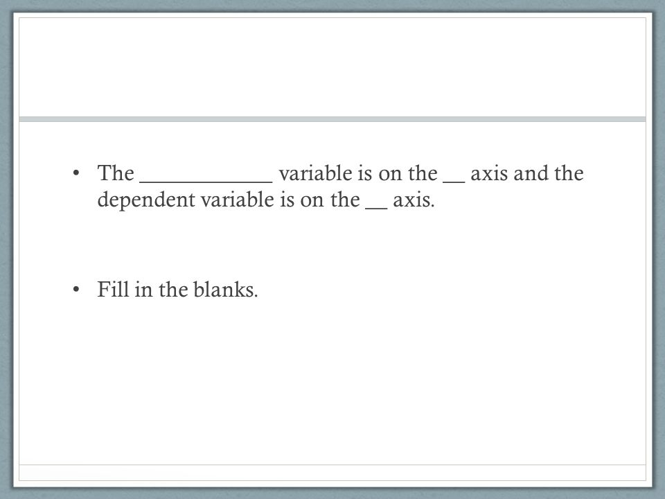 The ____________ variable is on the __ axis and the dependent variable is on the __ axis.