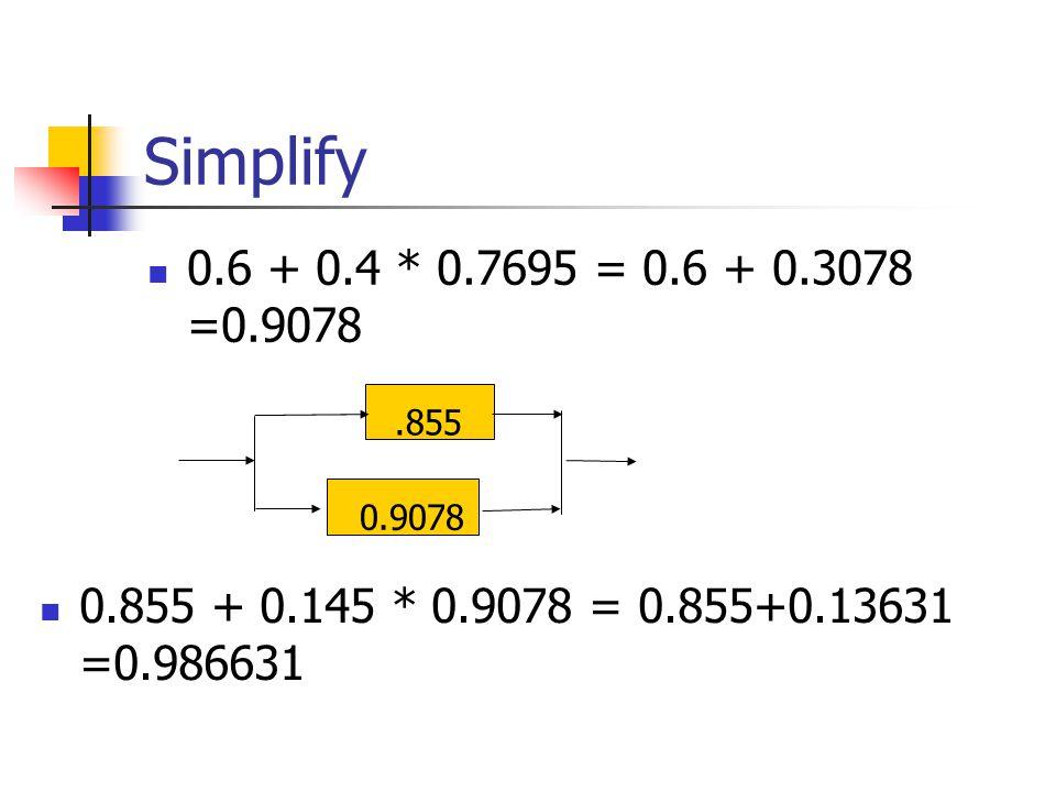 Simplify 0.6 + 0.4 * 0.7695 = 0.6 + 0.3078 =0.9078.8550.9078 0.855 + 0.145 * 0.9078 = 0.855+0.13631 =0.986631