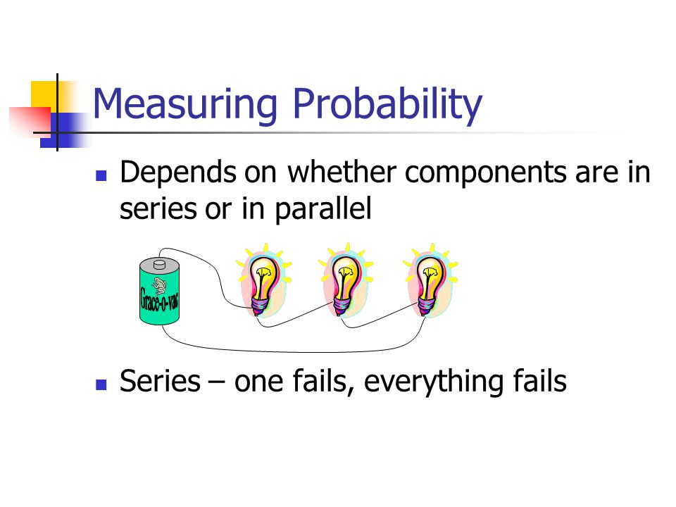 Measuring Probability Depends on whether components are in series or in parallel Series – one fails, everything fails
