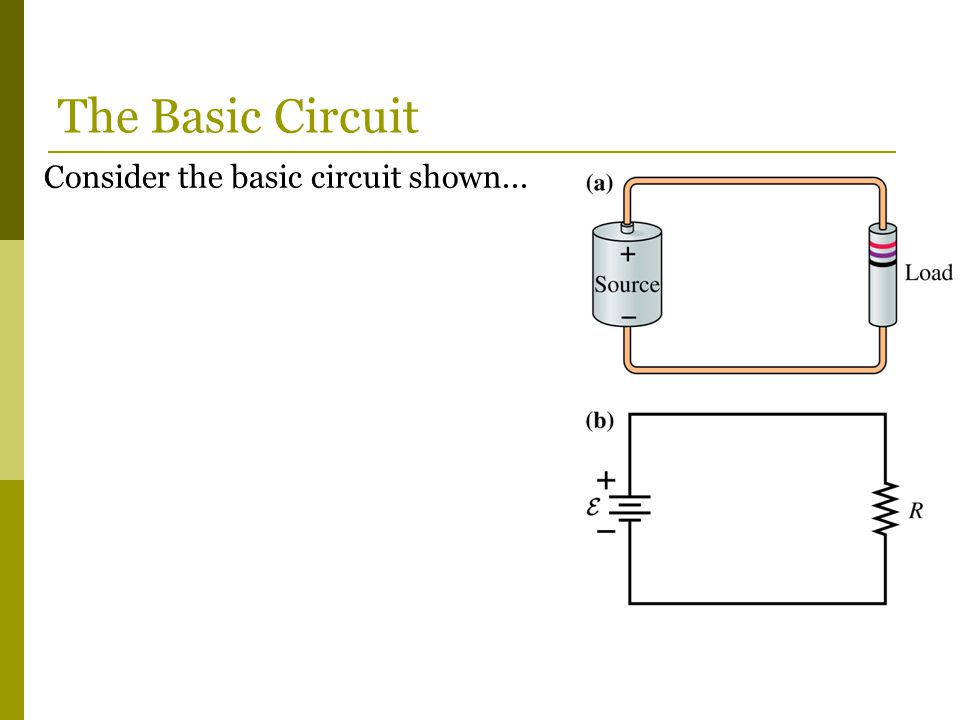 Consider the basic circuit shown... The Basic Circuit