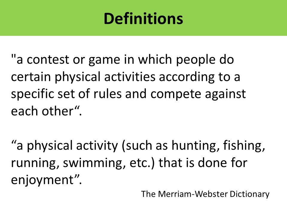 a contest or game in which people do certain physical activities according to a specific set of rules and compete against each other .