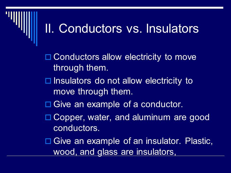 II. Conductors vs. Insulators  Conductors allow electricity to move through them.